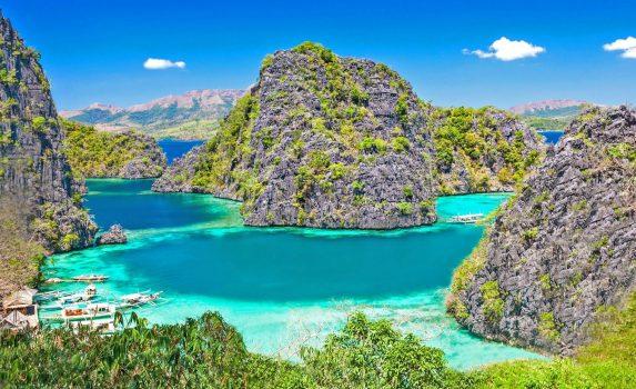 パラワン諸島の美しいラグーンの風景 フィリピンの風景