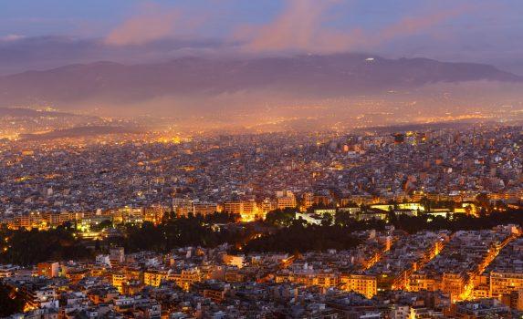 夜明けのアテネ リカベトスの丘からアテネの景色 ギリシャの風景