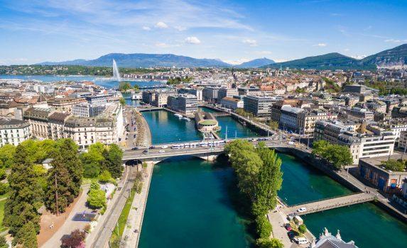 レマン湖の風景 スイスの風景