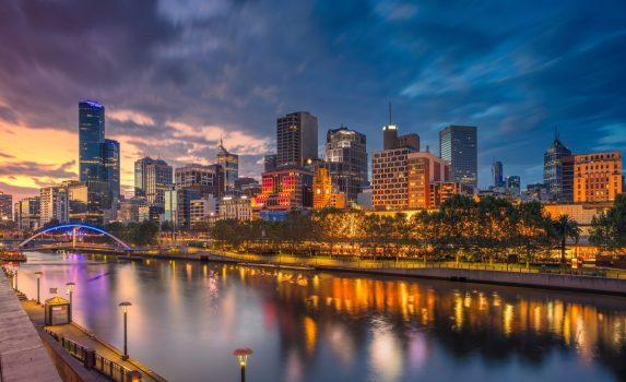 日暮れのメルボルンの風景 オーストラリアの風景