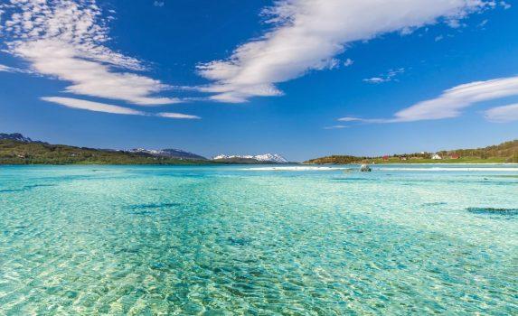 夏のロフォーテン諸島の美しい浜辺 ノルウェーの風景
