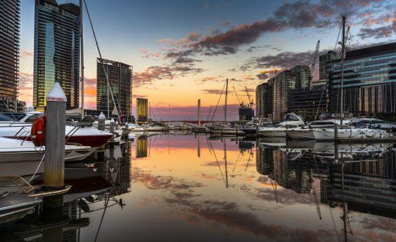 サウス・ワーフの日の出の風景 メルボルン オーストラリアの風景
