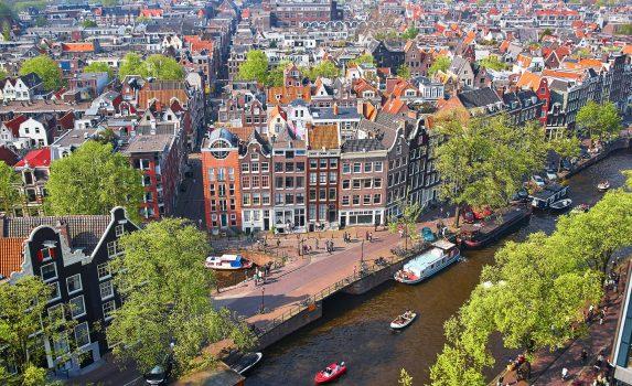 空から見たアムステルダム中心部 オランダの風景
