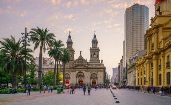 サンティアゴのアルマス広場の風景 チリの風景