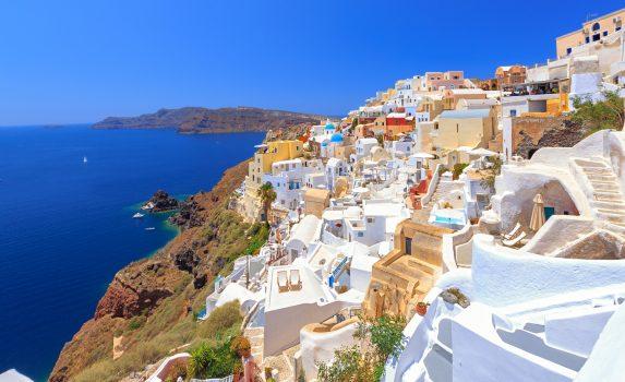 サントリーニ島の家並み ギリシャの風景