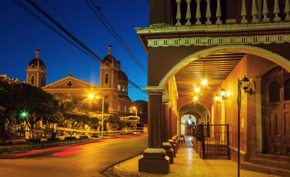 ニカラグアの古都グラナダの大聖堂と町並み ニカラグアの風景