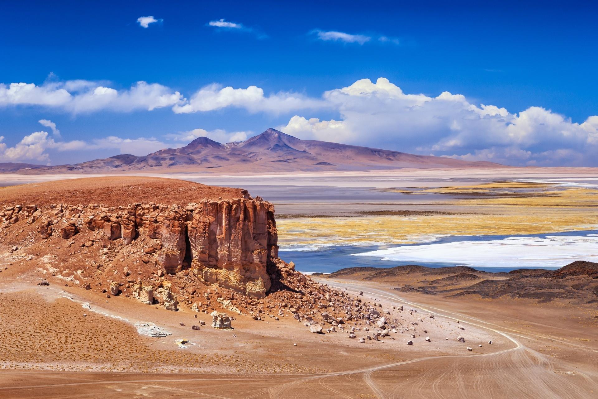 タラ塩湖とアタカマの風景 チリの風景