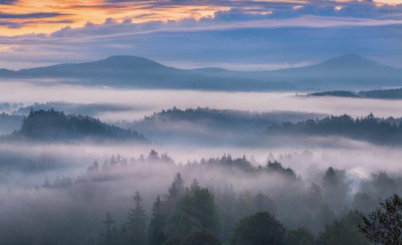 ボヘミアンスイスの霧の朝の風景 チェコの風景