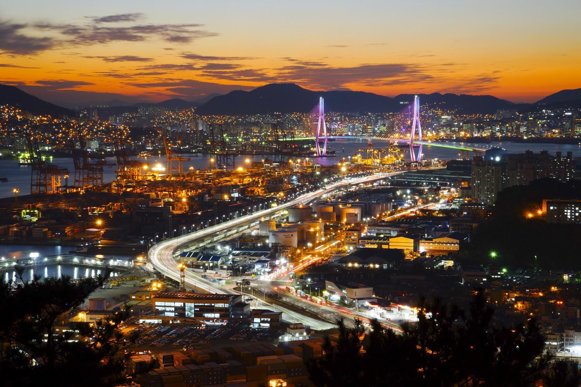 夕暮れの釜山の風景 韓国の風景