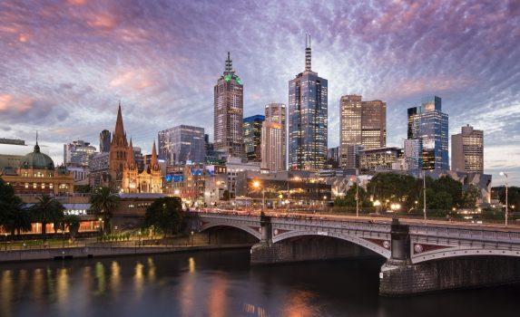 夕暮れのメルボルン オーストラリアの風景