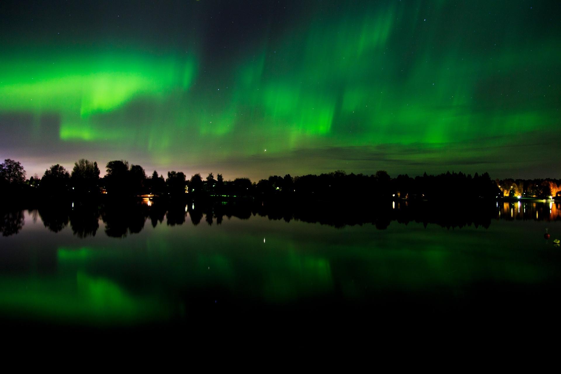 オーロラの風景 オウル フィンランドの風景