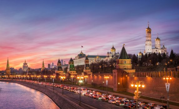 12月のモスクワ 夕暮れの風景 ロシアの風景