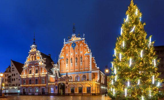 ラトビアのクリスマス リガ旧市街 ラトビアの風景