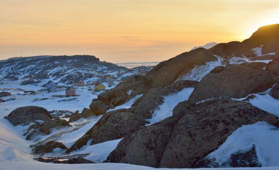 グリーンランドの夕暮れの風景 デンマークの風景