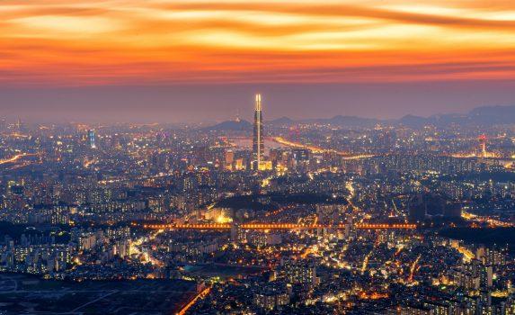 ソウルの夕暮れの風景 韓国の風景