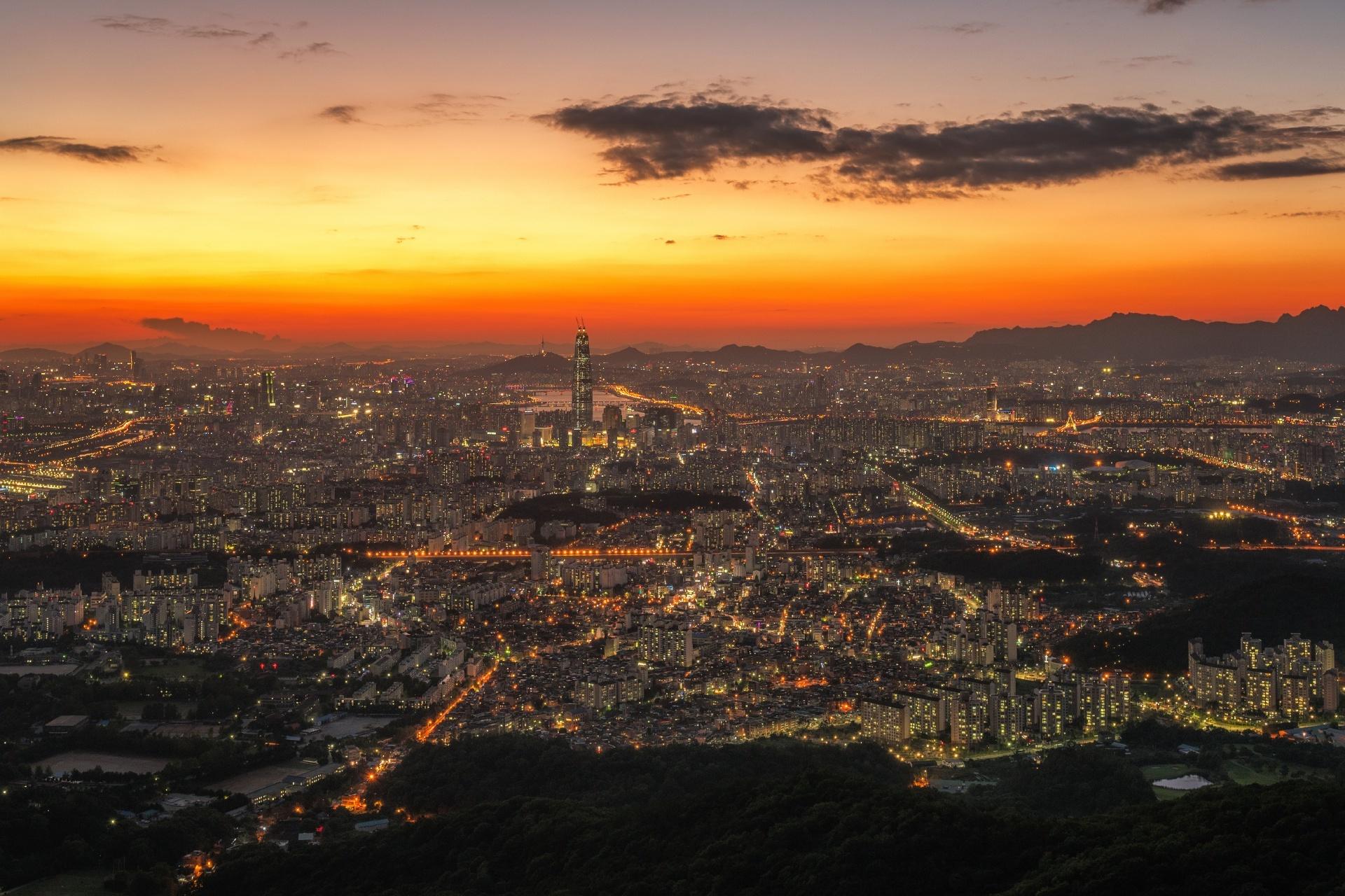 夕暮れのソウルの風景 韓国の風景