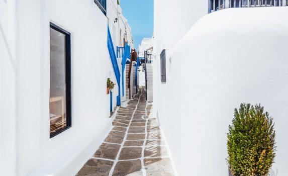 ミコノス島の路地裏の風景 ギリシャの風景