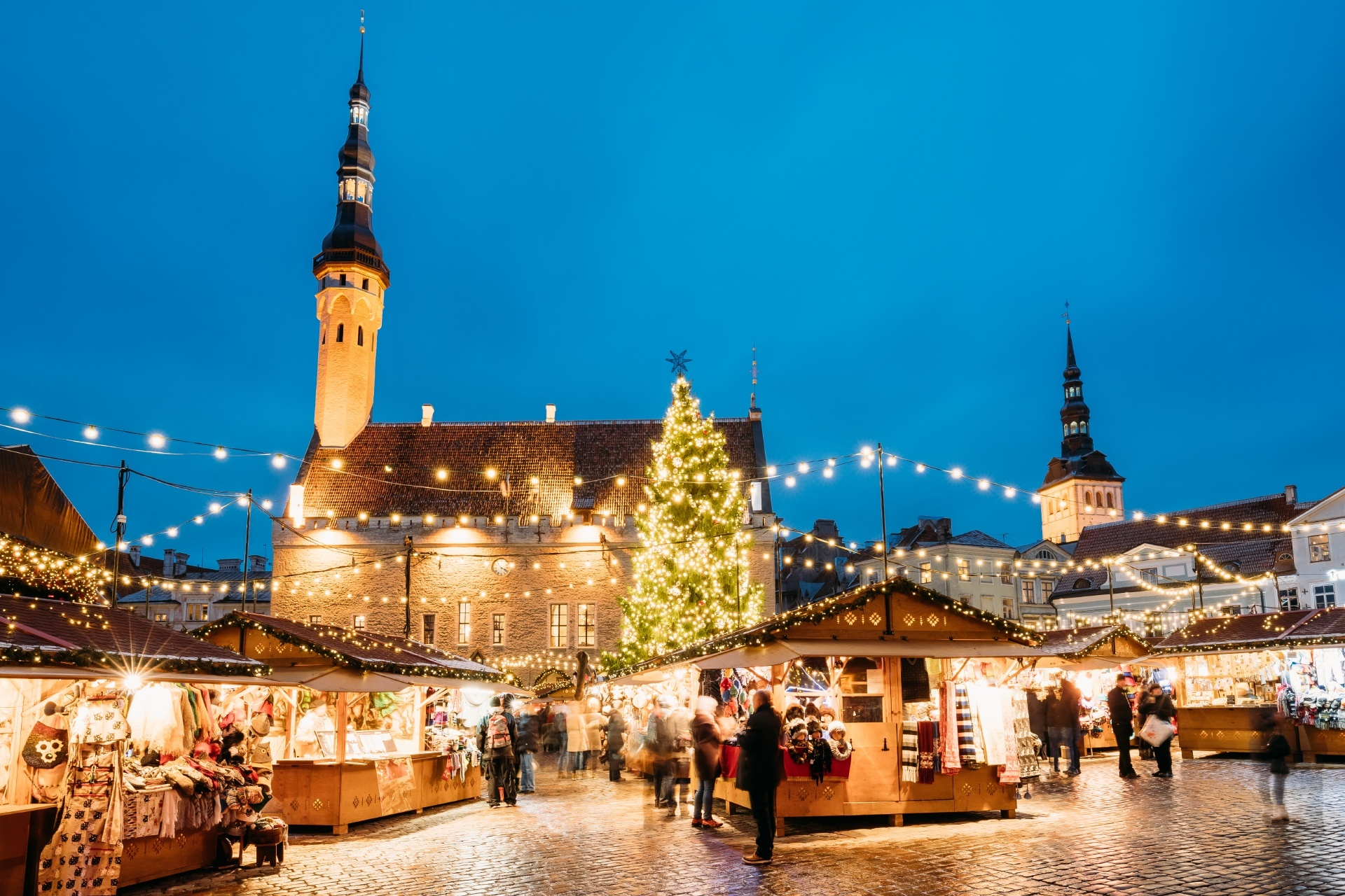 タリン旧市庁舎とラエコヤ広場のクリスマスの風景 エストニアの風景
