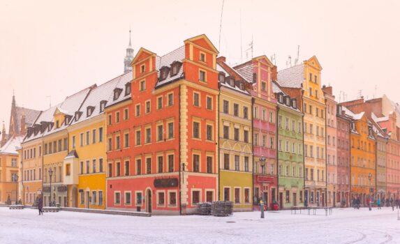 冬の朝のヴロツワフの風景 ポーランドの風景