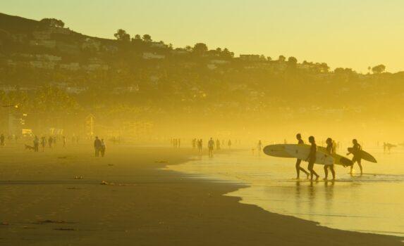 金色に輝くカリフォルニアのビーチ アメリカの風景