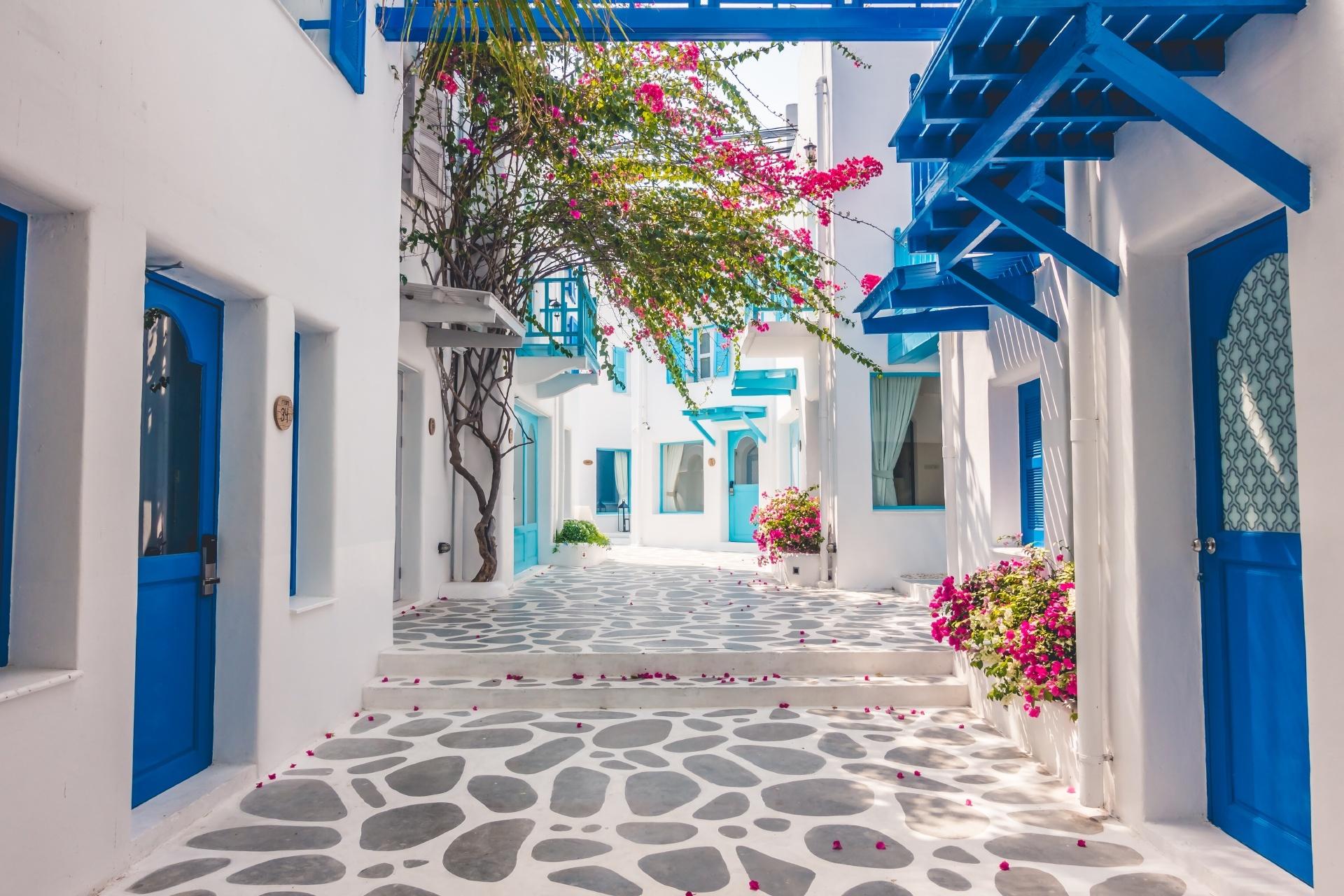 サントリーニ島の家々 ギリシャの風景