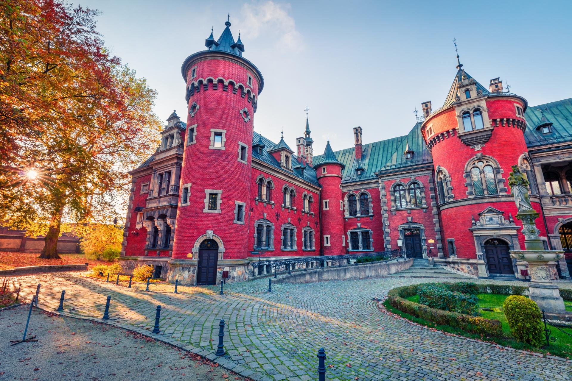 秋の朝の風景 ポーランドの風景