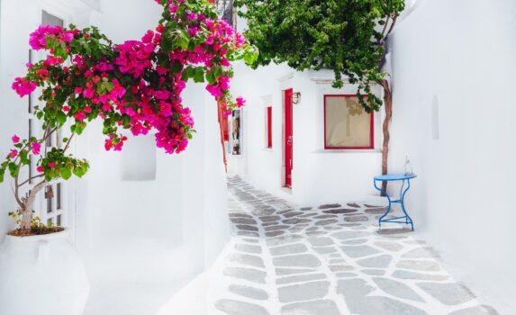 ミコノス島の路地 ギリシャの風景
