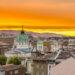 夕暮れのブルガリアの首都ソフィアの町並み