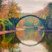 夕暮れのロードデンドロンパーク・クロムラウ「ラコツ橋」 ドイツの風景